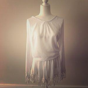 White Short Long Sleeved Tassel Dress